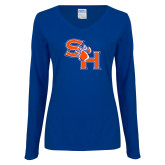 Ladies Royal Long Sleeve V Neck Tee-SH Paw Official Logo