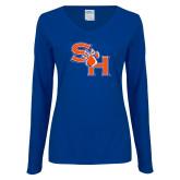 Ladies Royal Long Sleeve V Neck T Shirt-SH Paw Official Logo