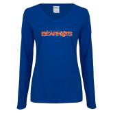 Ladies Royal Long Sleeve V Neck T Shirt-Sam Houston Bearkats