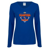 Ladies Royal Long Sleeve V Neck Tee-2017 Southland Conference Baseball Champions