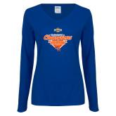 Ladies Royal Long Sleeve V Neck T Shirt-2017 Southland Conference Baseball Champions