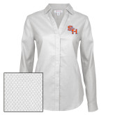 Ladies Red House Diamond Dobby White Long Sleeve Shirt-SH Paw Official Logo
