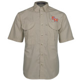 Khaki Short Sleeve Performance Fishing Shirt-SH Paw Official Logo