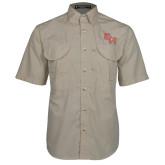 Khaki Short Sleeve Performance Fishing Shirt-SH Paw Official Logo