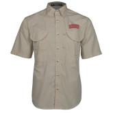 Khaki Short Sleeve Performance Fishing Shirt-Arched SHSU