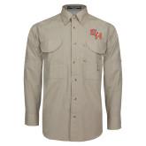 Khaki Long Sleeve Performance Fishing Shirt-SH Paw Official Logo