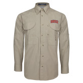 Khaki Long Sleeve Performance Fishing Shirt-Arched SHSU