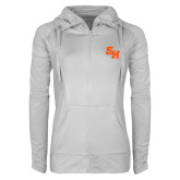 Ladies Sport Wick Stretch Full Zip White Jacket-Primary Athletics Mark