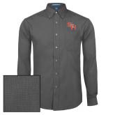 Mens Dark Charcoal Crosshatch Poplin Long Sleeve Shirt-SH Paw Official Logo