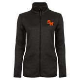 Black Heather Ladies Fleece Jacket-Primary Athletics Mark