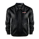 Black Leather Bomber Jacket-Bearkats