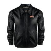 Black Leather Bomber Jacket-Arched SHSU