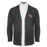 Charcoal V Neck Cardigan w/Pockets-SH Paw Official Logo