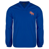 V Neck Royal Raglan Windshirt-SH Paw Official Logo