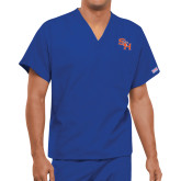 Unisex Royal V Neck Tunic Scrub with Chest Pocket-SH Paw Official Logo