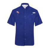 Columbia Tamiami Performance Royal Short Sleeve Shirt-SH Paw Official Logo