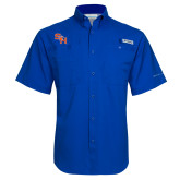 Columbia Tamiami Performance Royal Short Sleeve Shirt-SH Paw Official Logo