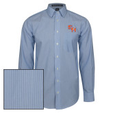 Mens French Blue/White Striped Long Sleeve Shirt-SH Paw Official Logo