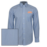 Mens French Blue/White Striped Long Sleeve Shirt-Arched SHSU