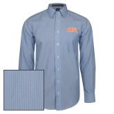 Mens French Blue/White Striped Long Sleeve Shirt-Arched SHSU