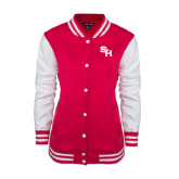 Ladies Pink Raspberry Fleece Letterman Jacket-SH Paw Official Logo