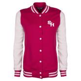 Ladies Pink Raspberry/White Fleece Letterman Jacket-SH Paw Official Logo