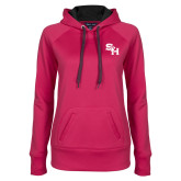 Ladies Pink Raspberry Tech Fleece Hoodie-SH Paw Official Logo
