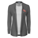 Ladies Heather Grey Open Front Cardigan-SH Paw Official Logo