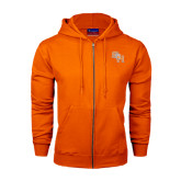 Champion Orange Fleece Full Zip Hood-SH Paw Official Logo