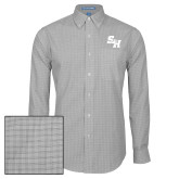 Mens Charcoal Plaid Pattern Long Sleeve Shirt-Primary Athletics Mark