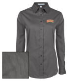 Ladies Grey Tonal Pattern Long Sleeve Shirt-Arched SHSU