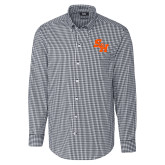 Cutter & Buck Charcoal Stretch Gingham Long Sleeve Shirt-Primary Athletics Mark