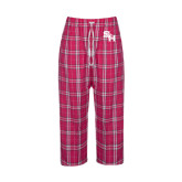 Ladies Dark Fuchsia/White Flannel Pajama Pant-SH Paw Official Logo