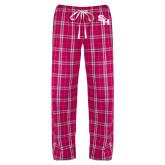 Ladies Dark Fuchsia/White Flannel Pajama Pant-SH Paw Official Logo