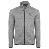 Grey Heather Fleece Jacket-SH Paw Official Logo