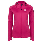 Ladies Tech Fleece Full Zip Hot Pink Hooded Jacket-SH Paw Official Logo