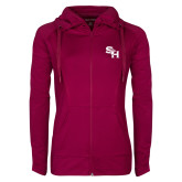 Ladies Sport Wick Stretch Full Zip Deep Berry Jacket-SH Paw Official Logo