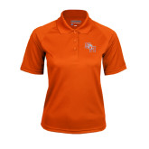 Ladies Orange Textured Saddle Shoulder Polo-SH Paw Official Logo