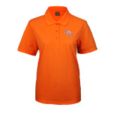 Ladies Easycare Orange Pique Polo-SH Paw Official Logo