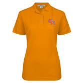 Ladies Easycare Orange Pique Polo-SH Paw Official Logo