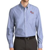 Mens Light Blue Crosshatch Poplin Long Sleeve Shirt-SH Paw Official Logo