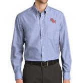 Mens Light Blue Crosshatch Poplin Long Sleeve Shirt-SH Paw Official Logo