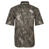 Camo Short Sleeve Performance Fishing Shirt-SH Paw Official Logo