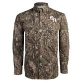 Camo Long Sleeve Performance Fishing Shirt-SH Paw Official Logo