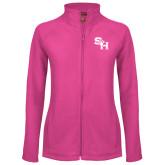 Ladies Fleece Full Zip Raspberry Jacket-SH Paw Official Logo