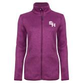 Dark Pink Heather Ladies Fleece Jacket-SH Paw Official Logo