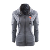 Ladies Sport Wick Stretch Full Zip Charcoal Jacket-SH Paw Official Logo