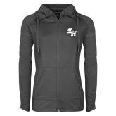 Ladies Sport Wick Stretch Full Zip Charcoal Jacket-Primary Athletics Mark