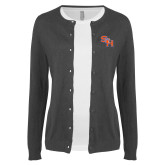 Ladies Charcoal Cardigan-SH Paw Official Logo
