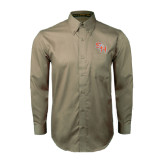 Khaki Twill Button Down Long Sleeve-SH Paw Official Logo